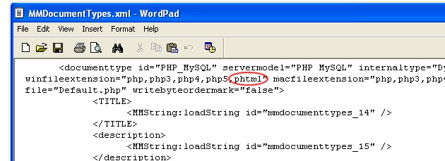 Adding Zend PHTML extension in Dreamweaver