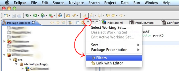 Show Hidden Eclipse Files in Package Explorer