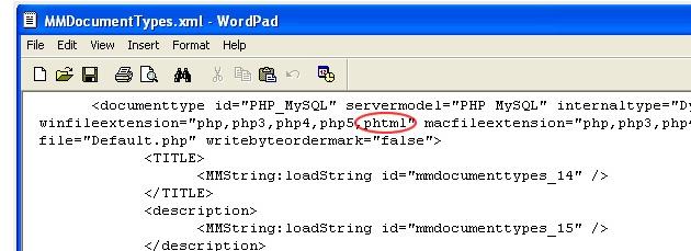Adding Zend PHTML extension in Dreamweaver